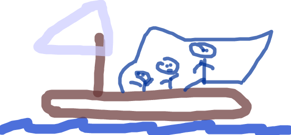 Sailboat With Three Sailors