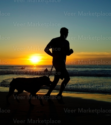 Man Running With Dog and the Sun
