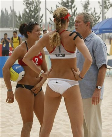 George Bush Consoling Volleyball Players